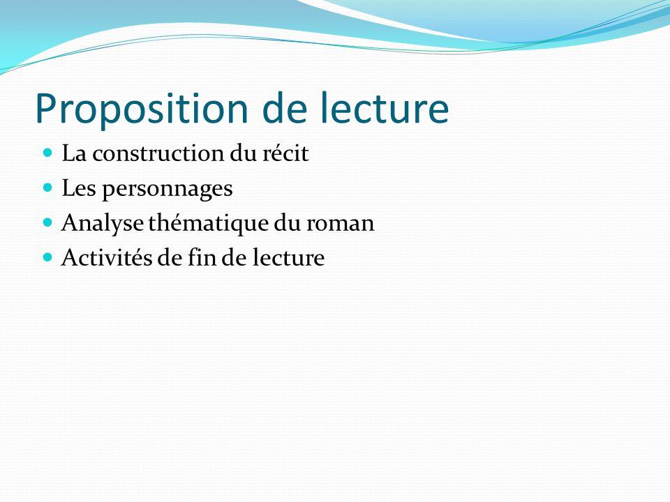 Proposition de lecture La construction du récit Les personnages Analyse thématique du roman Activités de fin de lecture