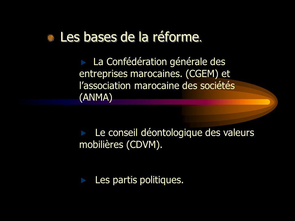 Les bases de la réforme.La Confédération générale des entreprises marocaines.