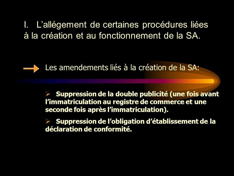 Les objectifs de la réforme  L'allégement de certaines procédures liées à la création et au fonctionnement de la SA.  L'instauration d'un meilleur é