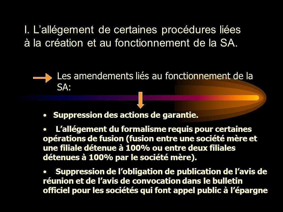 I. L'allégement de certaines procédures liées à la création et au fonctionnement de la SA. Les amendements liés à la création de la SA:  Suppression
