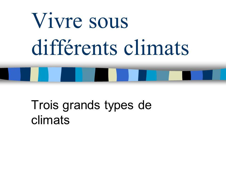 Vivre sous différents climats Trois grands types de climats