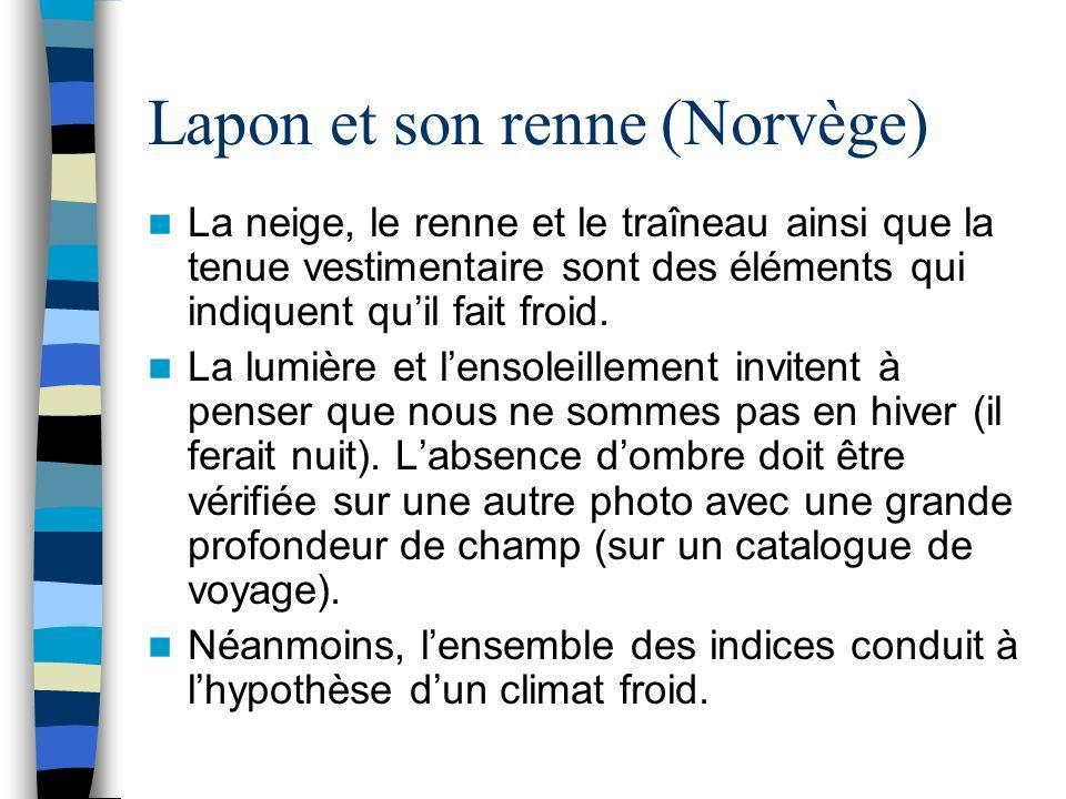 Lapon et son renne (Norvège) La neige, le renne et le traîneau ainsi que la tenue vestimentaire sont des éléments qui indiquent qu'il fait froid. La l