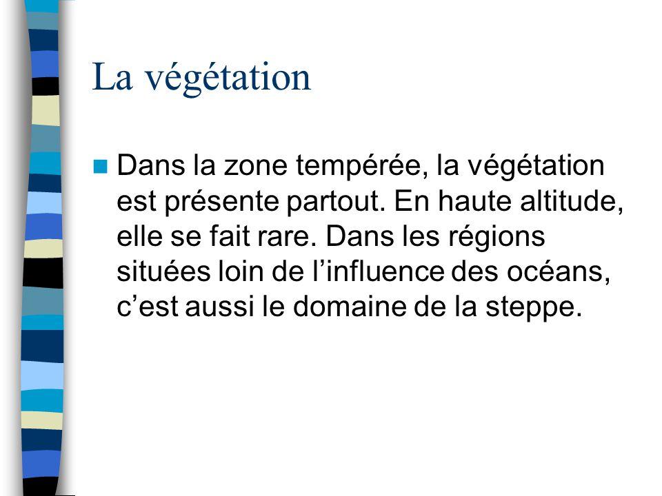 La végétation Dans la zone tempérée, la végétation est présente partout. En haute altitude, elle se fait rare. Dans les régions situées loin de l'infl