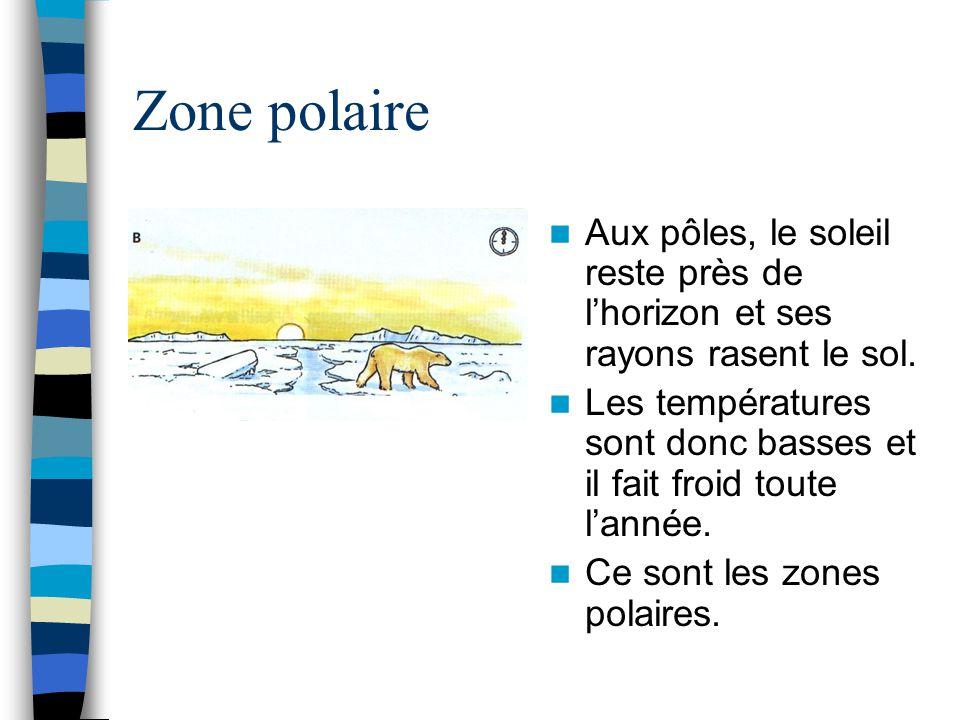 Zone polaire Aux pôles, le soleil reste près de l'horizon et ses rayons rasent le sol. Les températures sont donc basses et il fait froid toute l'anné
