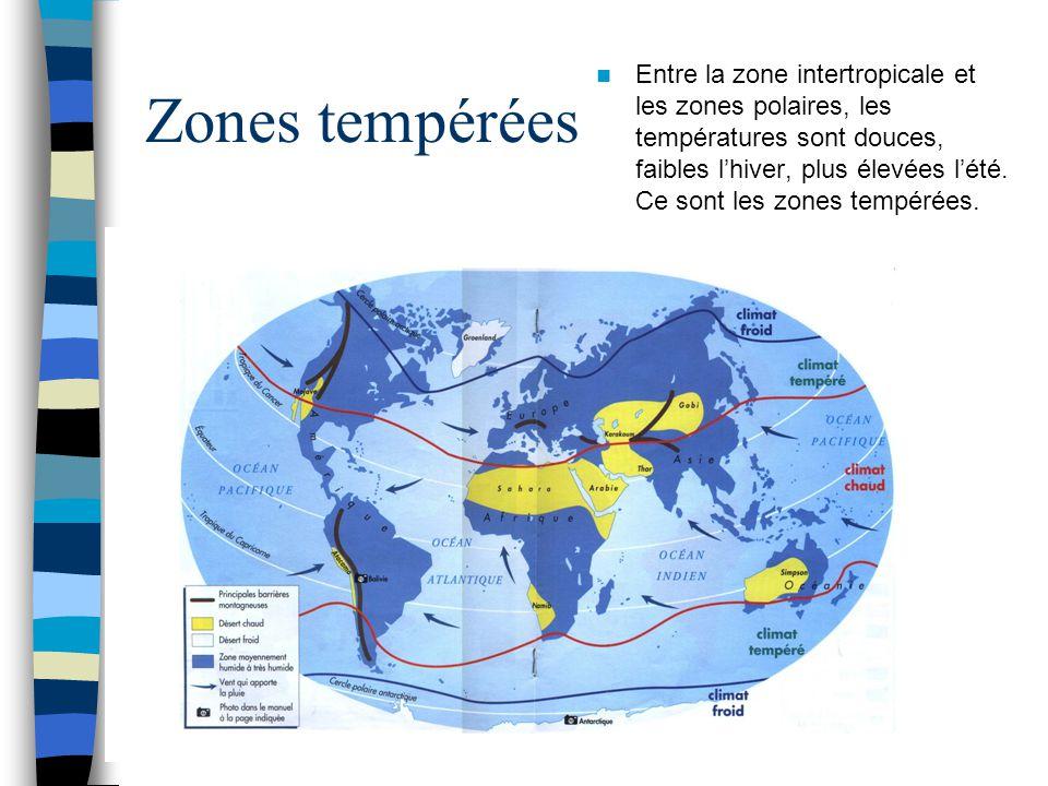 Zones tempérées Entre la zone intertropicale et les zones polaires, les températures sont douces, faibles l'hiver, plus élevées l'été. Ce sont les zon