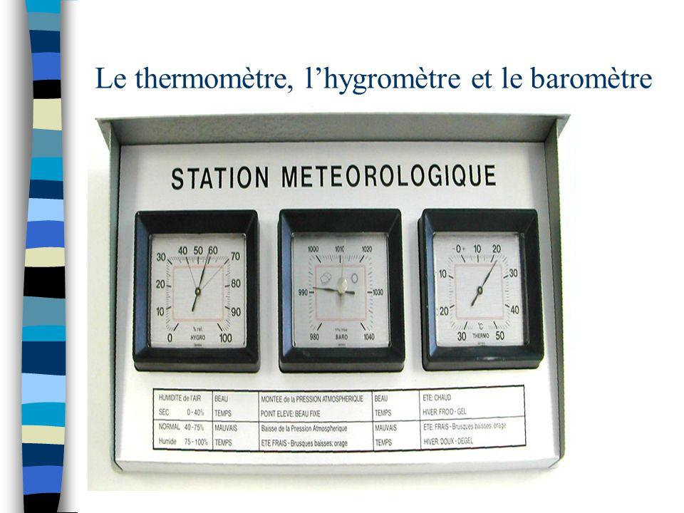 Le thermomètre, l'hygromètre et le baromètre