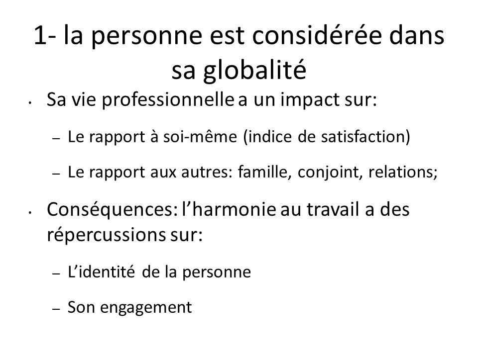 1- la personne est considérée dans sa globalité Sa vie professionnelle a un impact sur: – Le rapport à soi-même (indice de satisfaction) – Le rapport