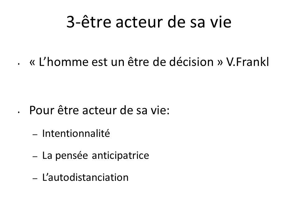 3-être acteur de sa vie « L'homme est un être de décision » V.Frankl Pour être acteur de sa vie: – Intentionnalité – La pensée anticipatrice – L'autod