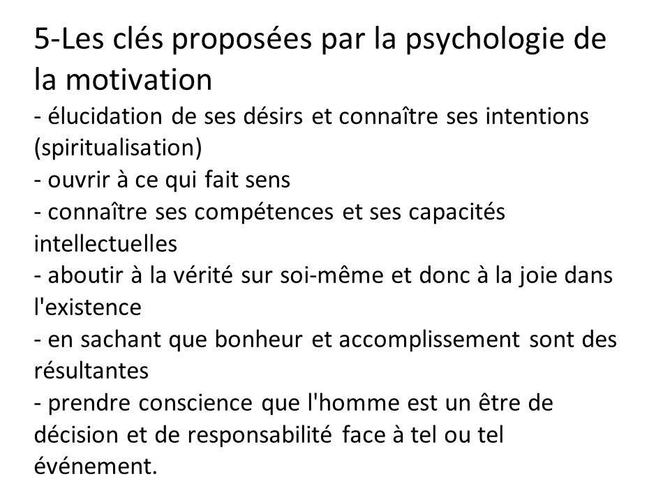 5-Les clés proposées par la psychologie de la motivation - élucidation de ses désirs et connaître ses intentions (spiritualisation) - ouvrir à ce qui