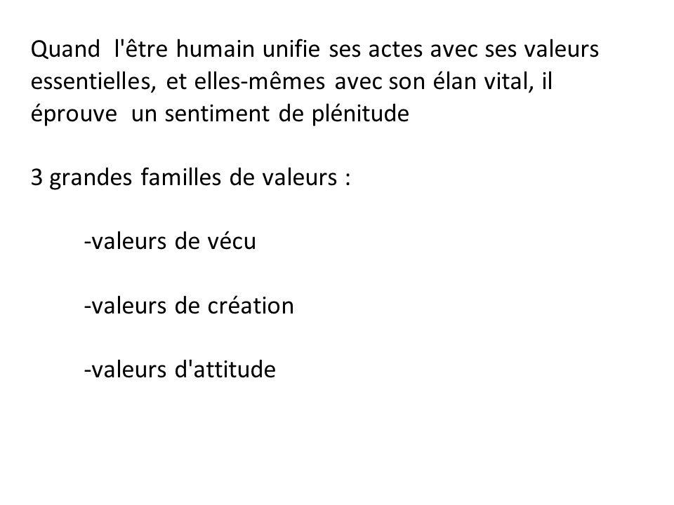 Quand l'être humain unifie ses actes avec ses valeurs essentielles, et elles-mêmes avec son élan vital, il éprouve un sentiment de plénitude 3 grandes