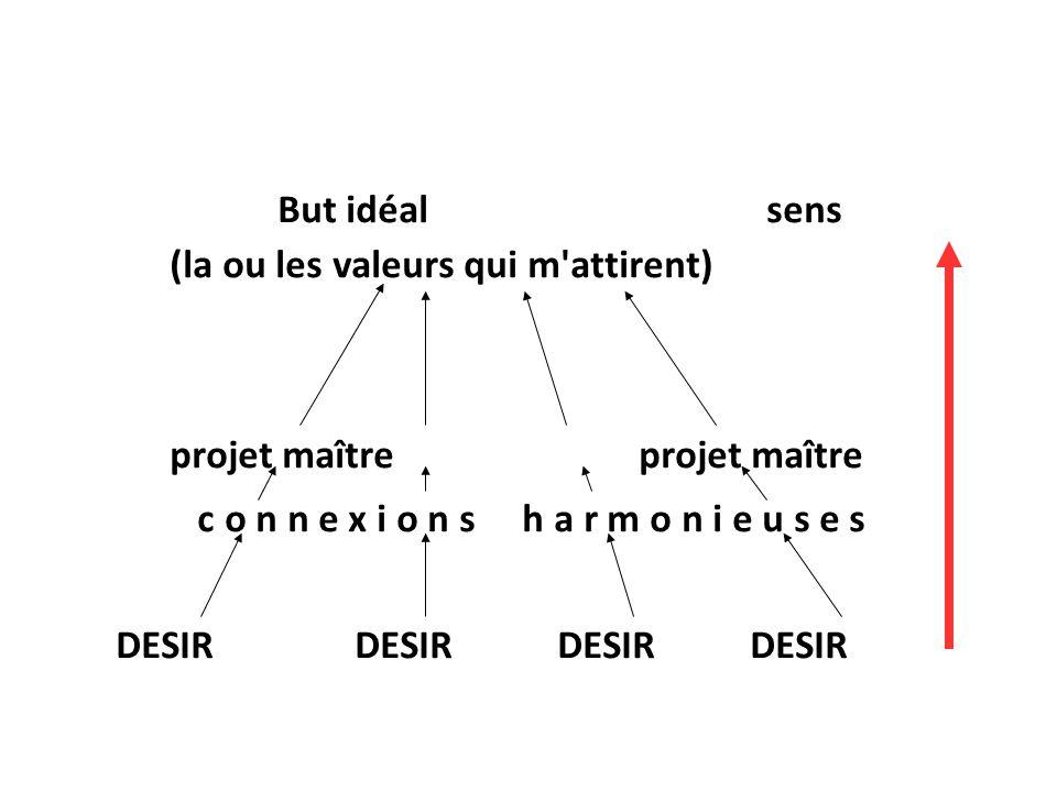 But idéal sens (la ou les valeurs qui m'attirent)projet maître c o n n e x i o n s h a r m o n i e u s e s DESIR DESIR