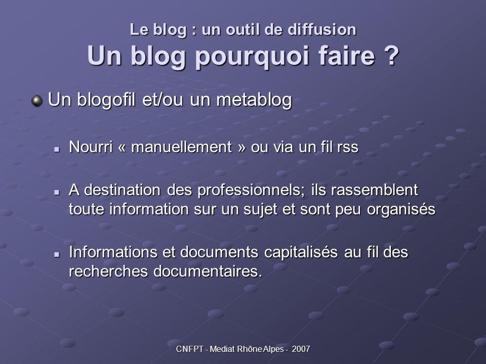 CNFPT - Mediat Rhône Alpes - 2007 Le blog : un outil de diffusion Un blog pourquoi faire ? Un blogofil et/ou un metablog Nourri « manuellement » ou vi