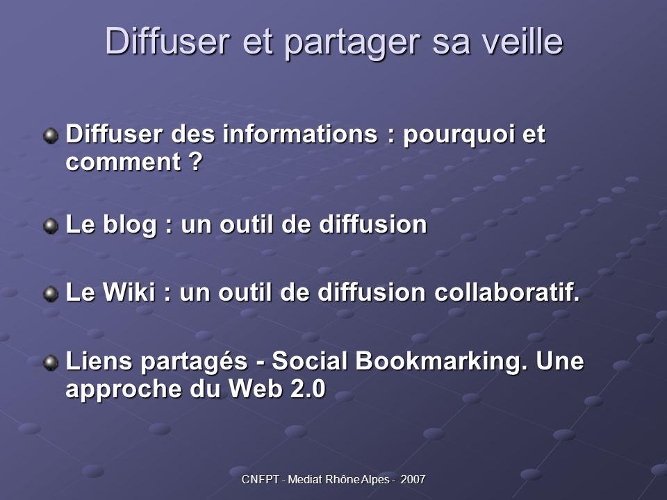 CNFPT - Mediat Rhône Alpes - 2007 Social bookmarking & web 2.0 Les communautés L autre atout des bookmarks sociaux : pouvoir constituer et se connecter avec une communauté de spécialistes L'exemple de la Biotechnologie