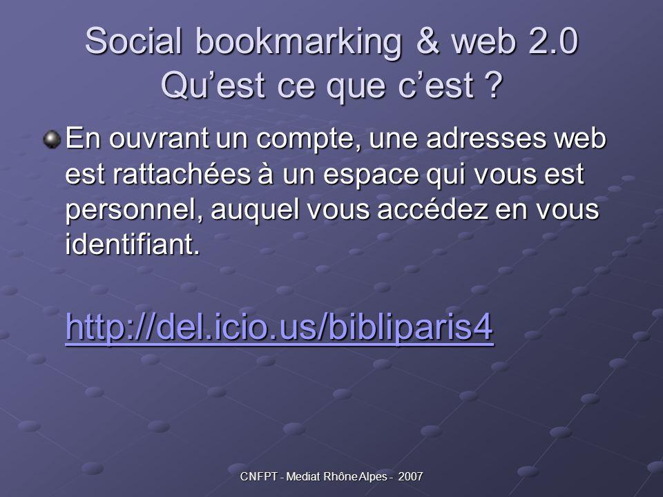 CNFPT - Mediat Rhône Alpes - 2007 Social bookmarking & web 2.0 Qu'est ce que c'est ? En ouvrant un compte, une adresses web est rattachées à un espace