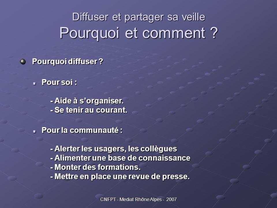 CNFPT - Mediat Rhône Alpes - 2007 Diffuser et partager sa veille Pourquoi et comment ? Pourquoi diffuser ? Pourquoi diffuser ? Pour soi : - Aide à s'o