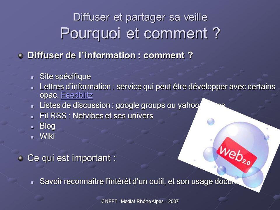 CNFPT - Mediat Rhône Alpes - 2007 Diffuser et partager sa veille Pourquoi et comment ? Diffuser de l'information : comment ? Site spécifique Site spéc