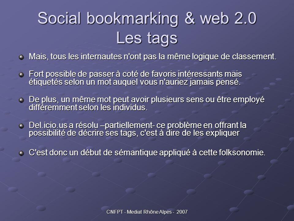 Social bookmarking & web 2.0 Les tags Mais, tous les internautes n'ont pas la même logique de classement. Fort possible de passer à coté de favoris in