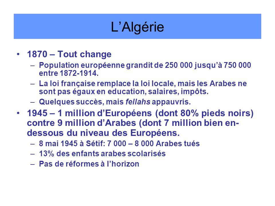 L'Algérie 1870 – Tout change –Population européenne grandit de 250 000 jusqu'à 750 000 entre 1872-1914.