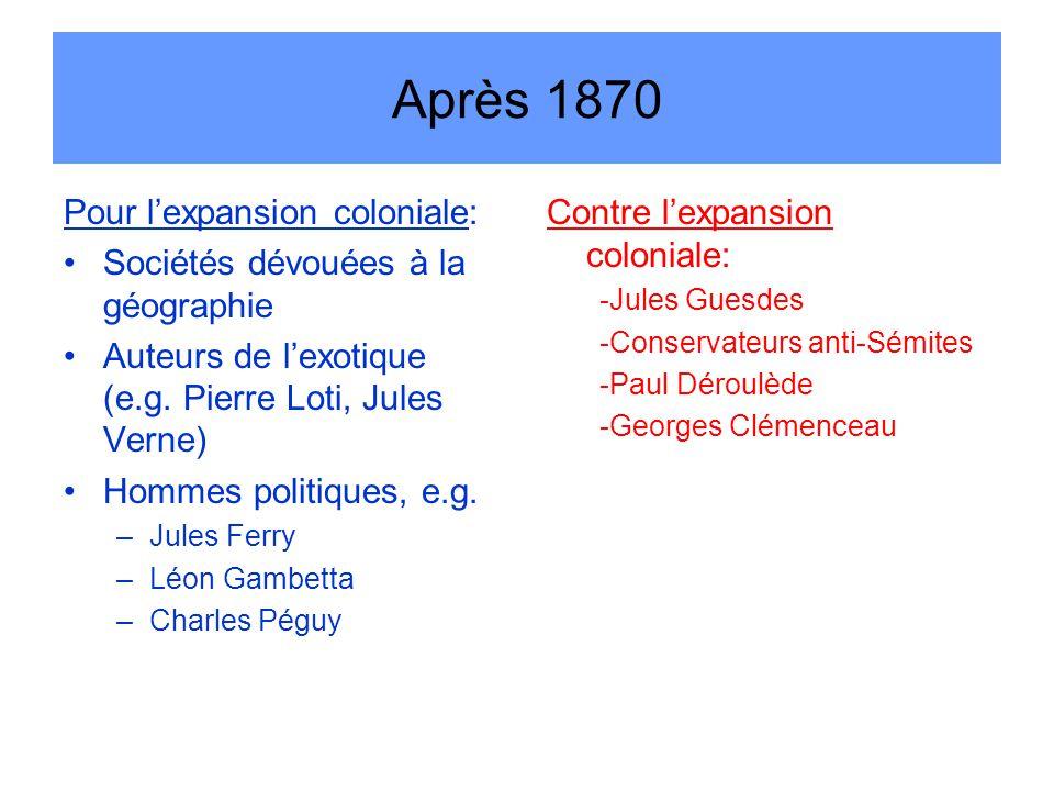 Après 1870 Pour l'expansion coloniale: Sociétés dévouées à la géographie Auteurs de l'exotique (e.g.
