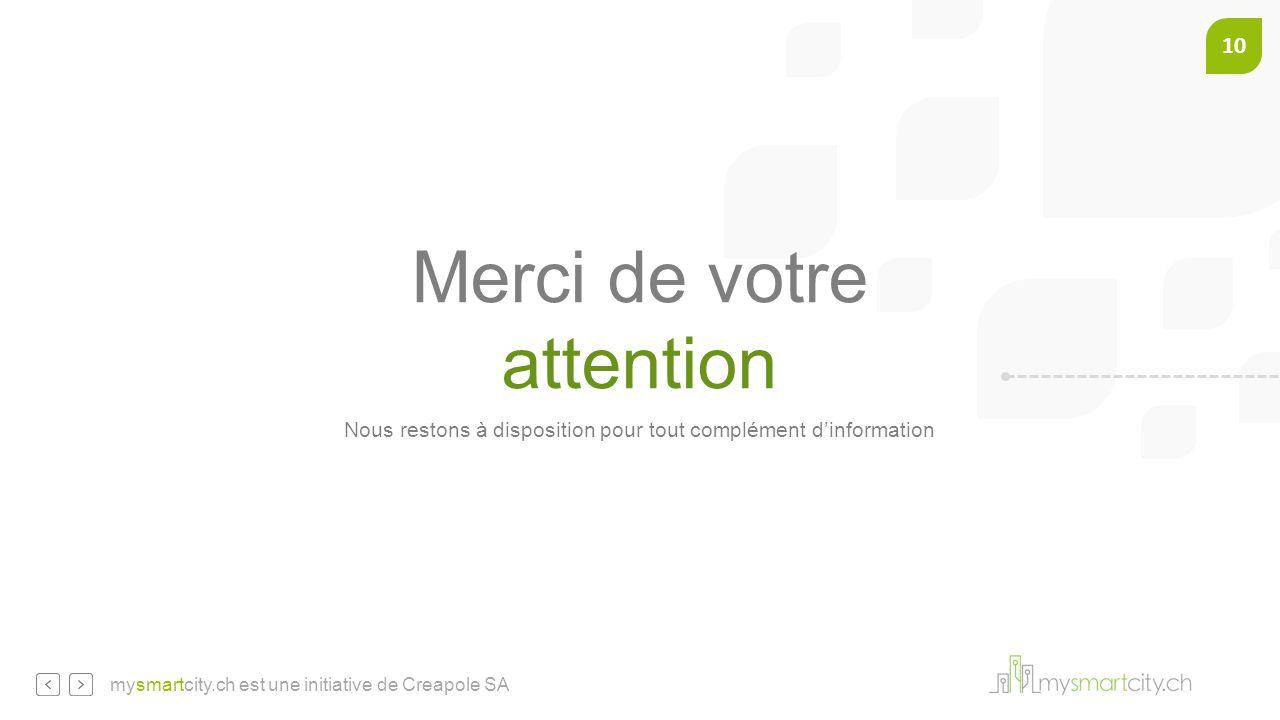 10 mysmartcity.ch est une initiative de Creapole SA Merci de votre attention Nous restons à disposition pour tout complément d'information