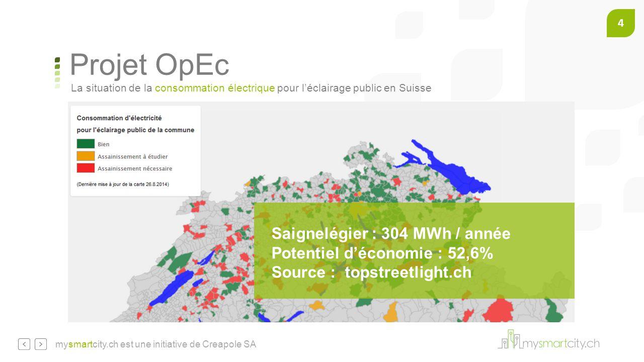 4 mysmartcity.ch est une initiative de Creapole SA Saignelégier : 304 MWh / année Potentiel d'économie : 52,6% Source : topstreetlight.ch La situation