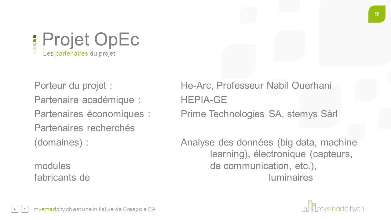 9 mysmartcity.ch est une initiative de Creapole SA Projet OpEc Porteur du projet :He-Arc, Professeur Nabil Ouerhani Partenaire académique :HEPIA-GE Pa