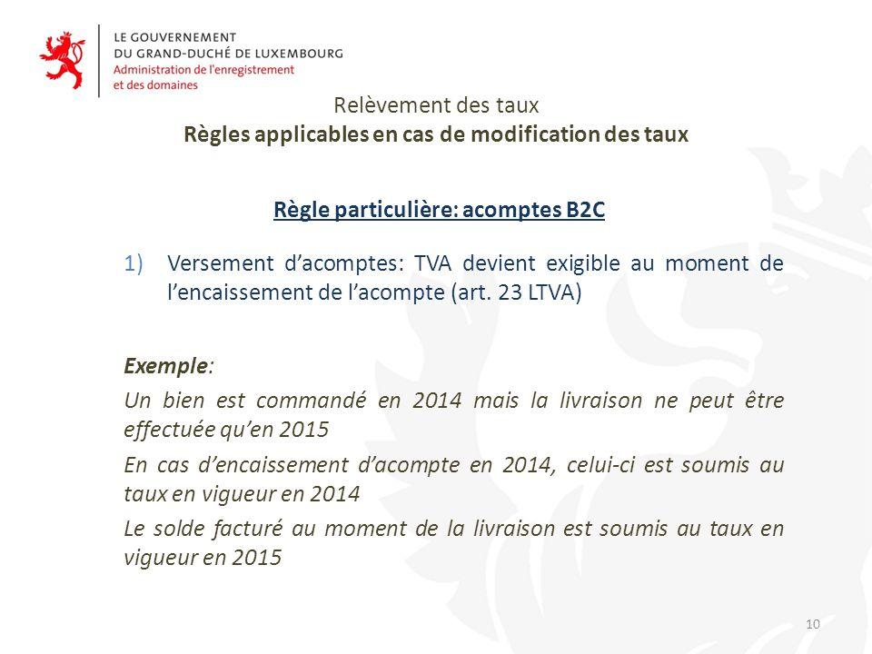Relèvement des taux Règles applicables en cas de modification des taux Règle particulière: acomptes B2C 1)Versement d'acomptes: TVA devient exigible au moment de l'encaissement de l'acompte (art.