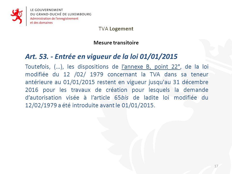 TVA Logement Mesure transitoire Art.53.