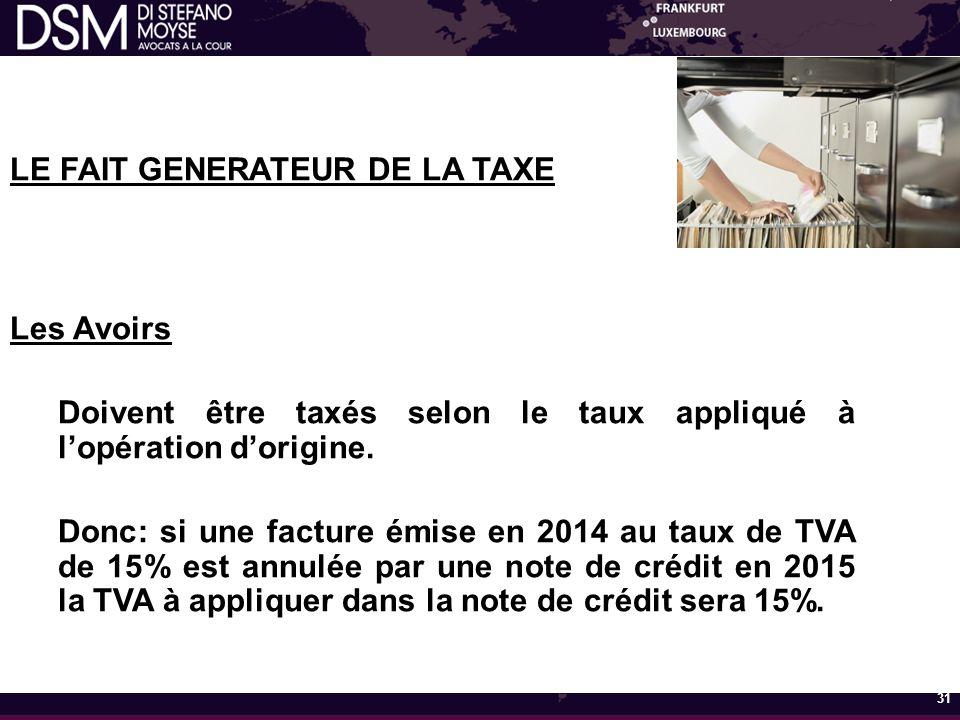 LE FAIT GENERATEUR DE LA TAXE Les Avoirs Doivent être taxés selon le taux appliqué à l'opération d'origine.