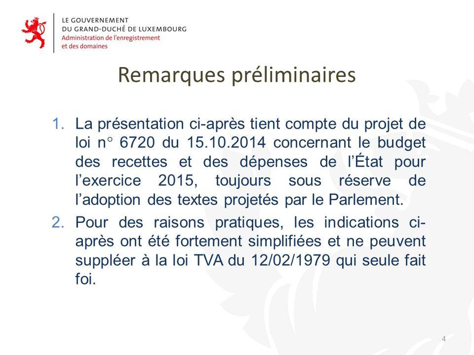 Remarques préliminaires 1.La présentation ci-après tient compte du projet de loi n° 6720 du 15.10.2014 concernant le budget des recettes et des dépenses de l'État pour l'exercice 2015, toujours sous réserve de l'adoption des textes projetés par le Parlement.