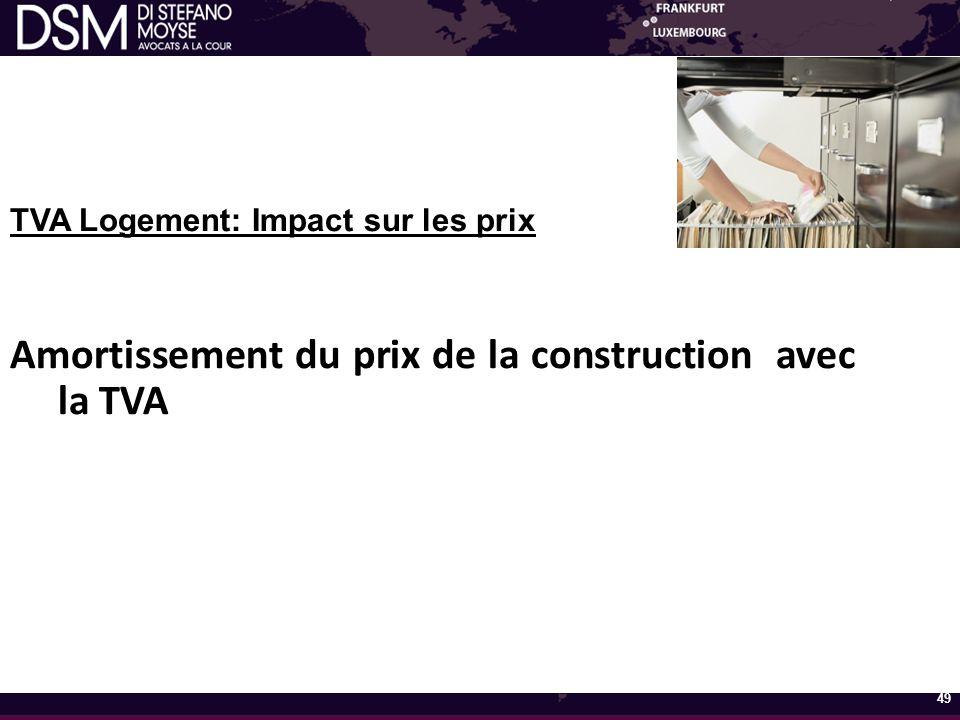 TVA Logement: Impact sur les prix Amortissement du prix de la construction avec la TVA 49