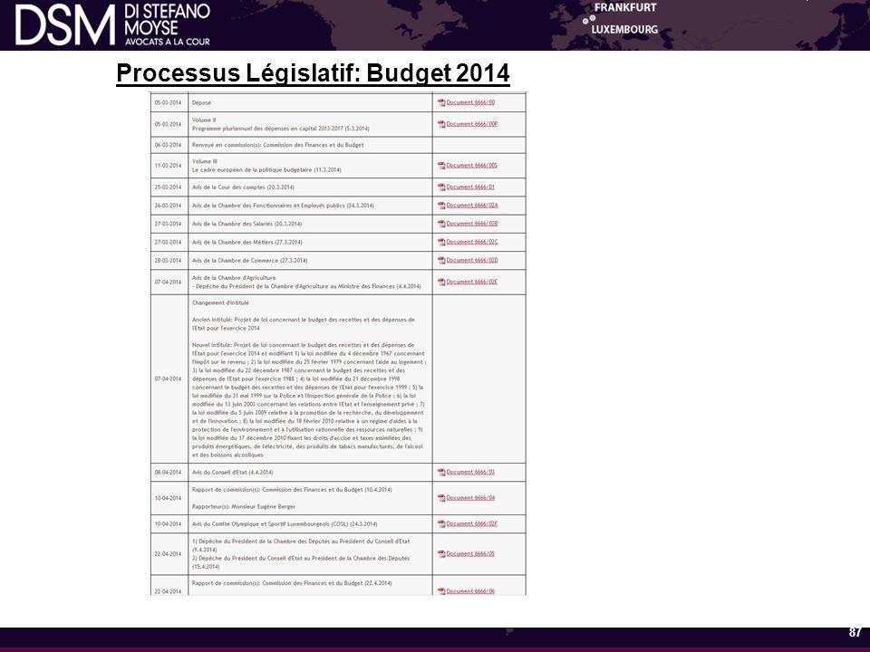 Processus Législatif: Budget 2014 87