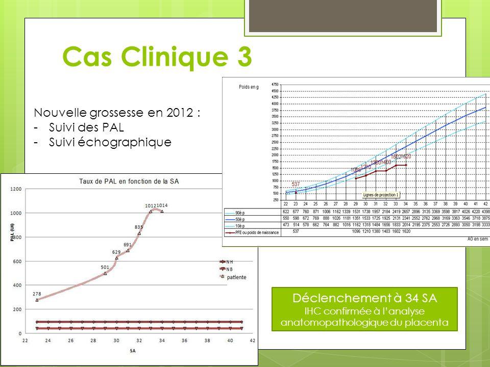 Cas Clinique 3 Déclenchement à 34 SA IHC confirmée à l'analyse anatomopathologique du placenta Nouvelle grossesse en 2012 : -Suivi des PAL -Suivi écho