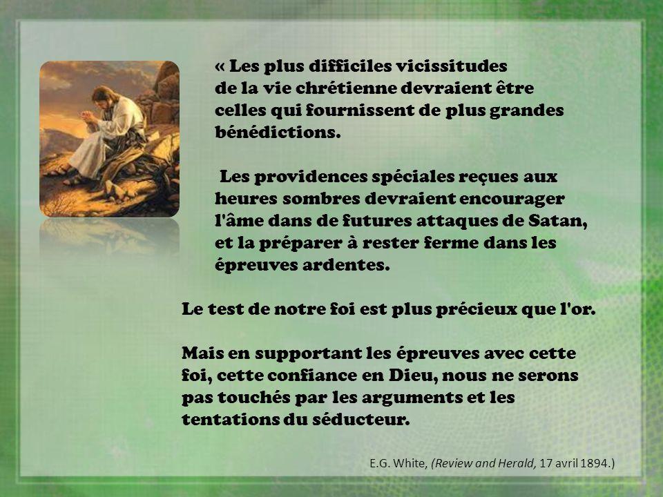 « Les plus difficiles vicissitudes de la vie chrétienne devraient être celles qui fournissent de plus grandes bénédictions. Les providences spéciales