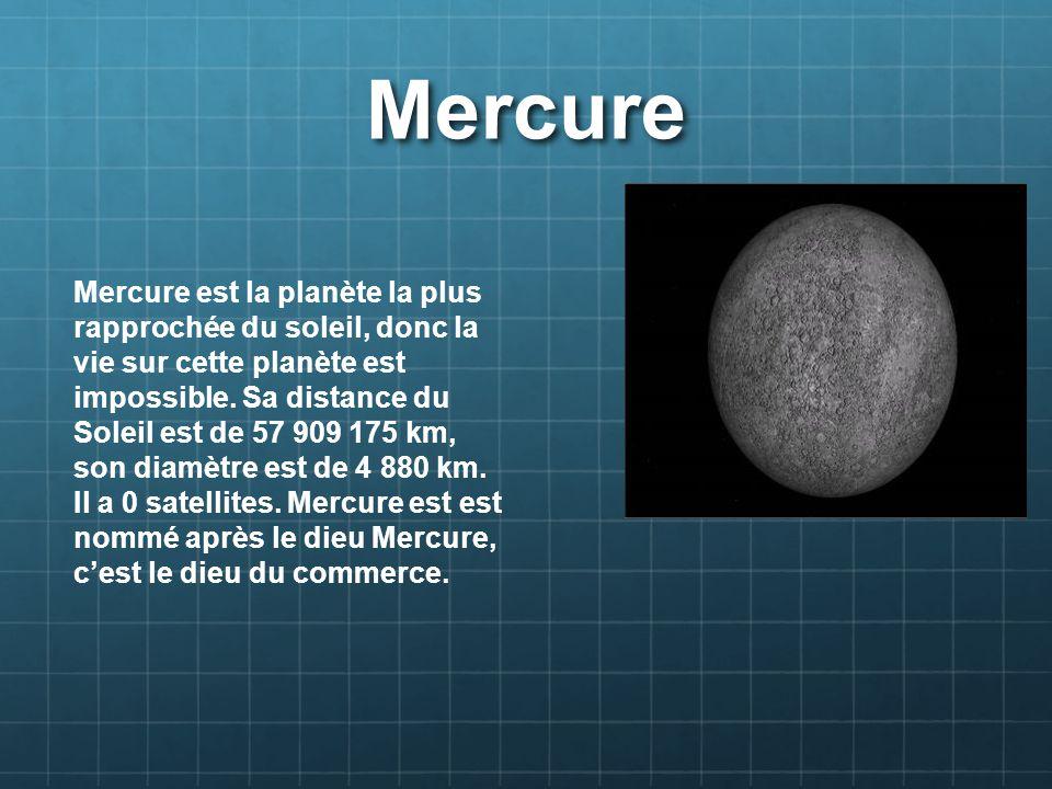 Vénus Vénus est la 2 planète la plus rapprochée du Soleil.