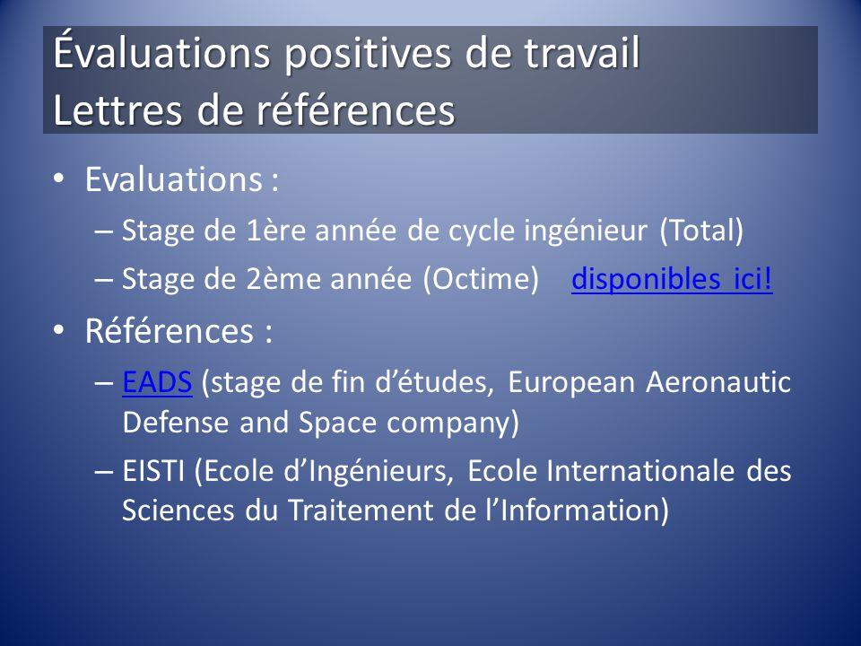 Évaluations positives de travail Lettres de références Evaluations : – Stage de 1ère année de cycle ingénieur (Total) – Stage de 2ème année (Octime) d