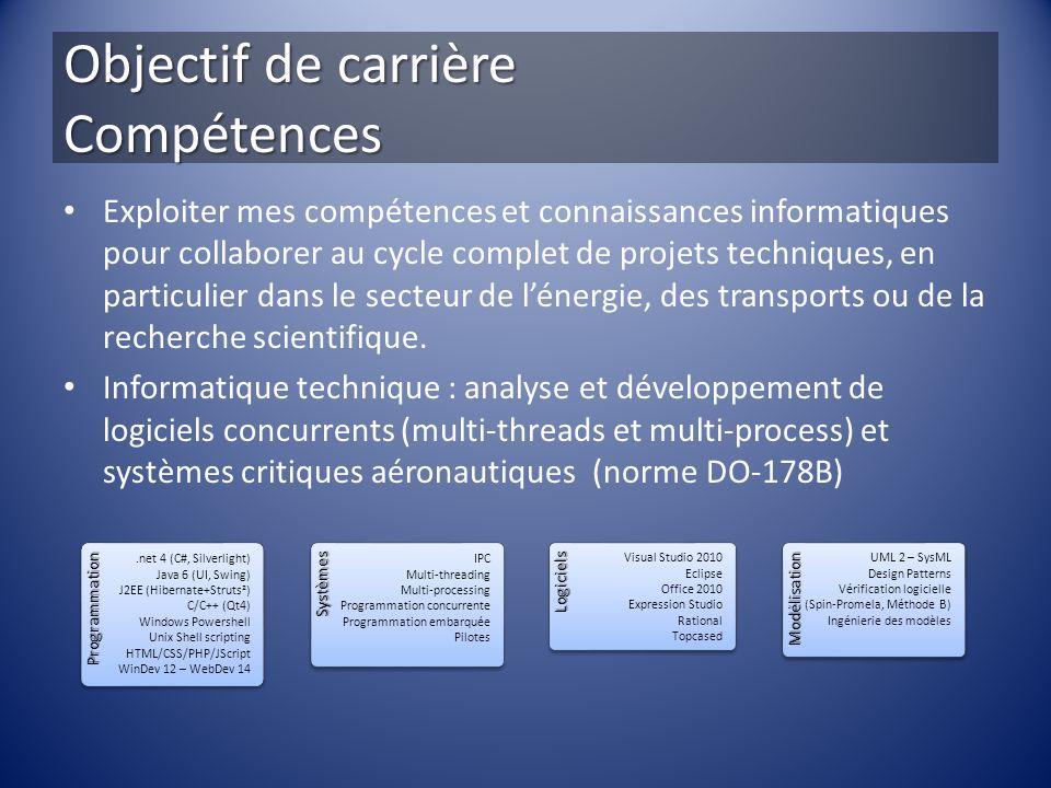 Objectif de carrière Compétences Exploiter mes compétences et connaissances informatiques pour collaborer au cycle complet de projets techniques, en p
