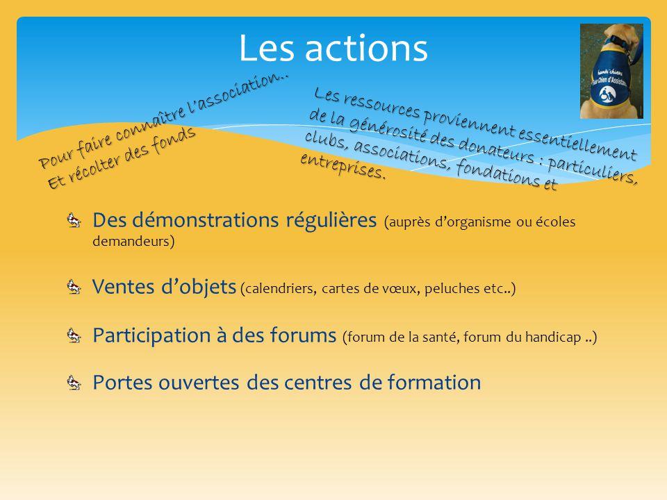 Les actions Des démonstrations régulières (auprès d'organisme ou écoles demandeurs) Ventes d'objets (calendriers, cartes de vœux, peluches etc..) Part