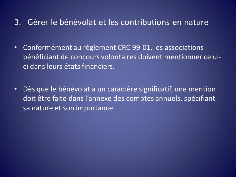3.Gérer le bénévolat et les contributions en nature Conformément au règlement CRC 99-01, les associations bénéficiant de concours volontaires doivent