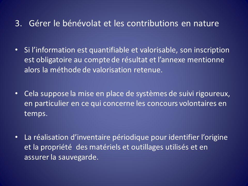 3.Gérer le bénévolat et les contributions en nature Si l'information est quantifiable et valorisable, son inscription est obligatoire au compte de rés