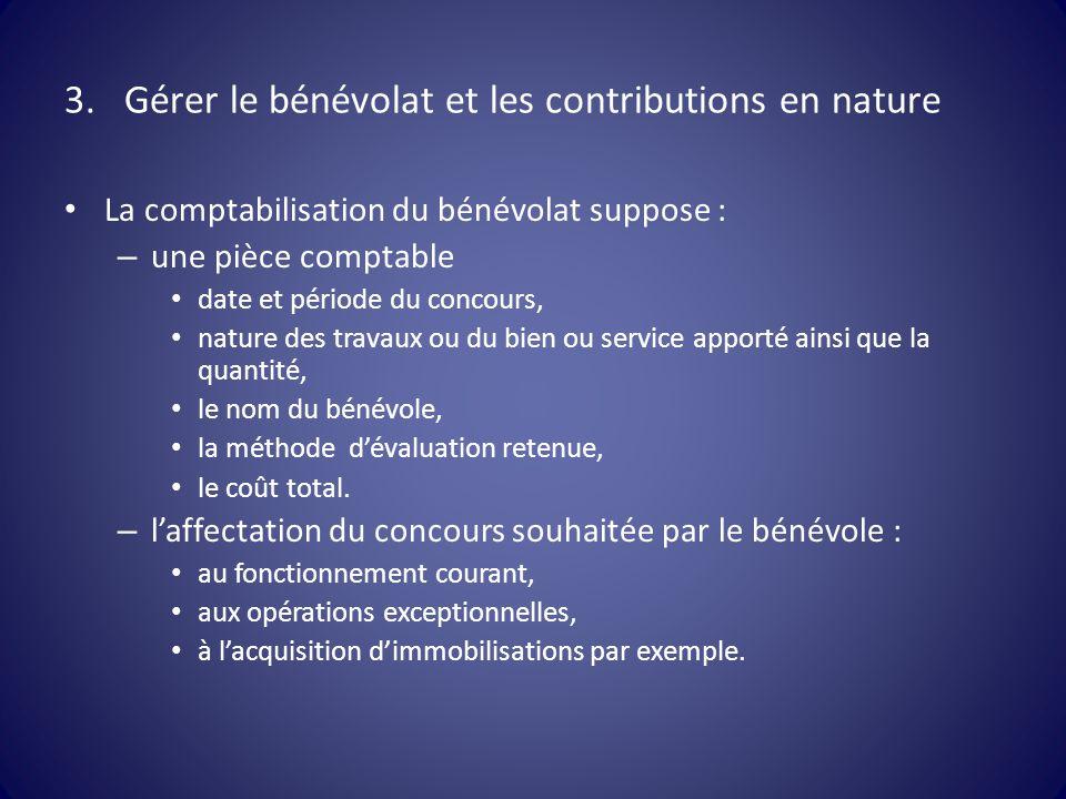 3.Gérer le bénévolat et les contributions en nature La comptabilisation du bénévolat suppose : – une pièce comptable date et période du concours, natu