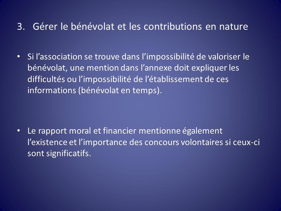 3.Gérer le bénévolat et les contributions en nature Si l'association se trouve dans l'impossibilité de valoriser le bénévolat, une mention dans l'anne