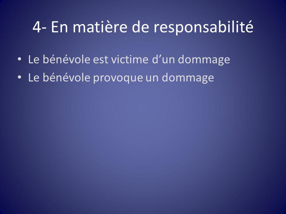 4- En matière de responsabilité Le bénévole est victime d'un dommage Le bénévole provoque un dommage