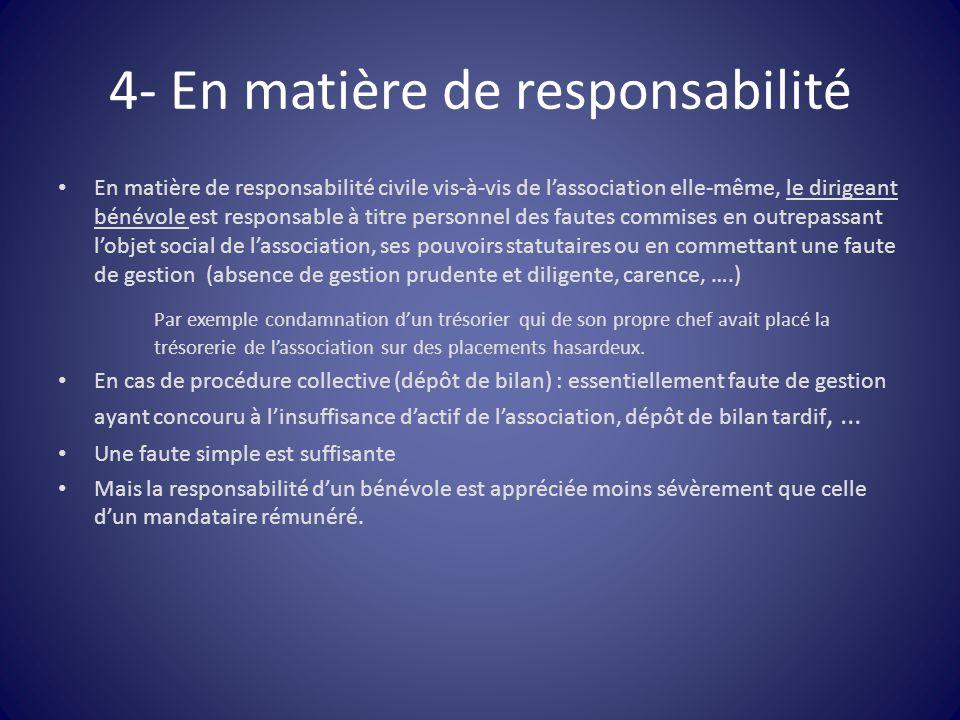 4- En matière de responsabilité En matière de responsabilité civile vis-à-vis de l'association elle-même, le dirigeant bénévole est responsable à titr