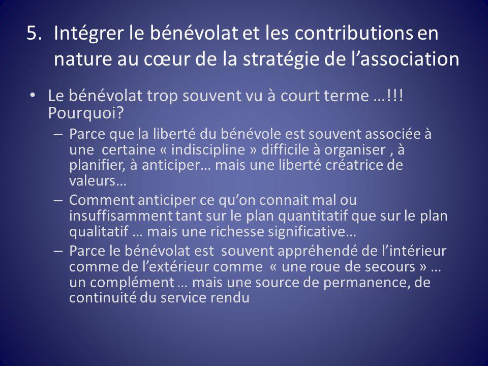 5.Intégrer le bénévolat et les contributions en nature au cœur de la stratégie de l'association Le bénévolat trop souvent vu à court terme …!!! Pourqu