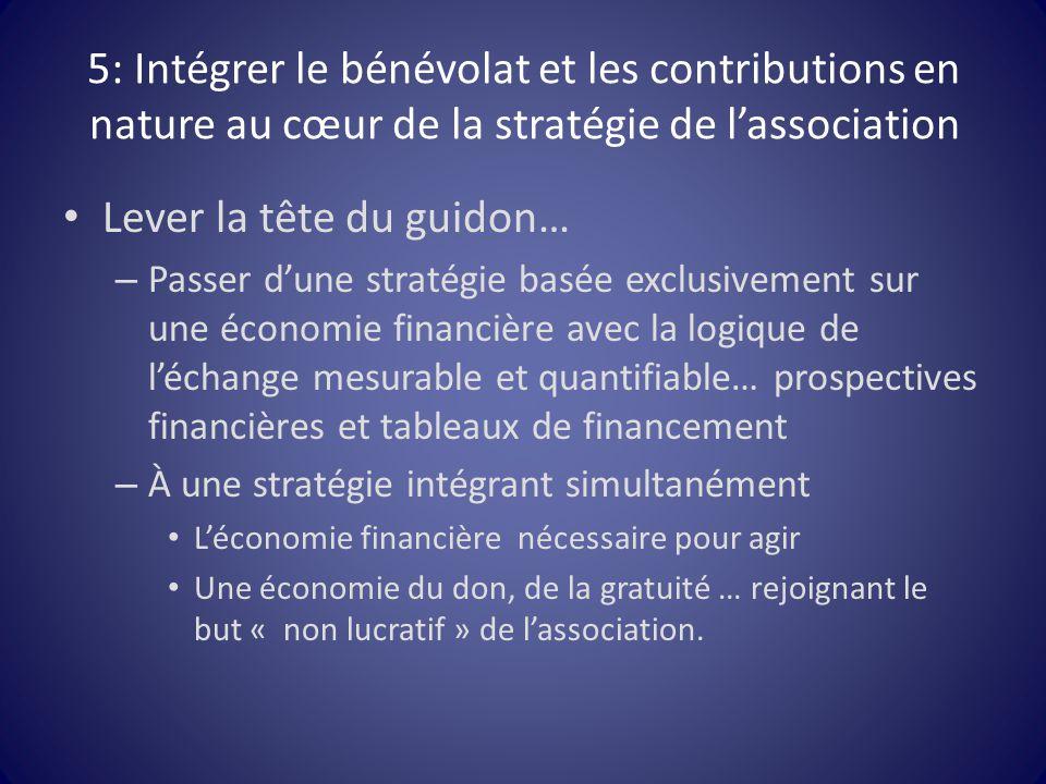 5: Intégrer le bénévolat et les contributions en nature au cœur de la stratégie de l'association Lever la tête du guidon… – Passer d'une stratégie bas