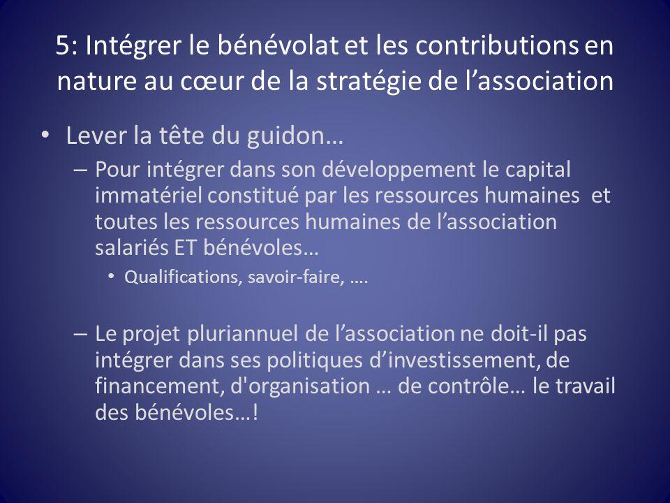 5: Intégrer le bénévolat et les contributions en nature au cœur de la stratégie de l'association Lever la tête du guidon… – Pour intégrer dans son dév