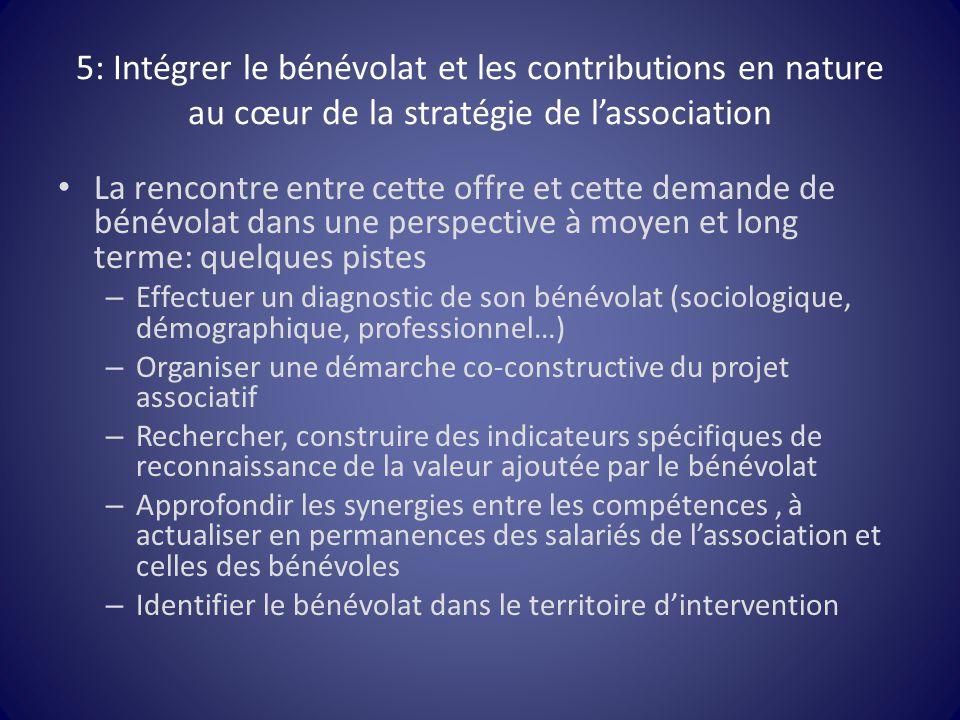 5: Intégrer le bénévolat et les contributions en nature au cœur de la stratégie de l'association La rencontre entre cette offre et cette demande de bé