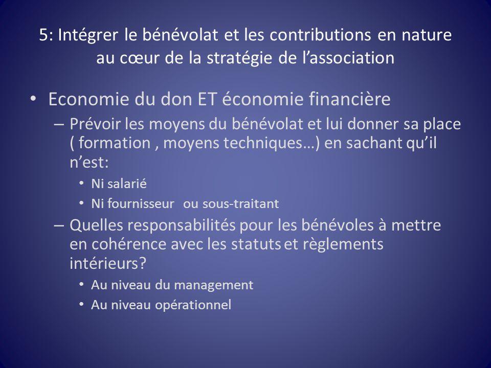 5: Intégrer le bénévolat et les contributions en nature au cœur de la stratégie de l'association Economie du don ET économie financière – Prévoir les