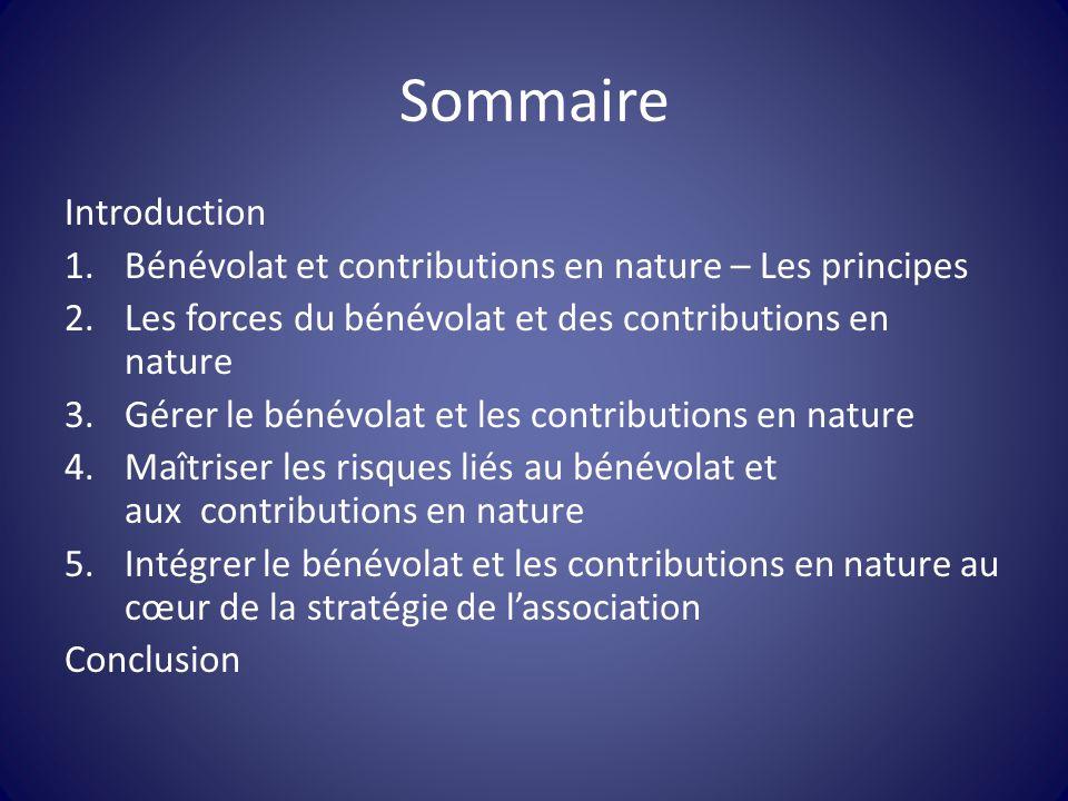 Sommaire Introduction 1.Bénévolat et contributions en nature – Les principes 2.Les forces du bénévolat et des contributions en nature 3.Gérer le bénév